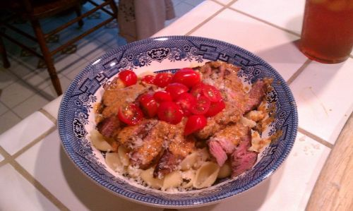 Pasta with steak and Chardonnay cream sauce.