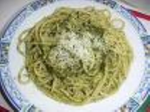 Pesto Basil and Cheese Spaghetti