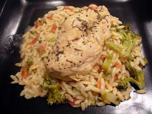 Herb-Rubbed Chicken with Creamy Orzo