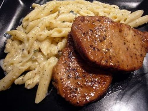 Basil Pork Chops with Caesar Penne