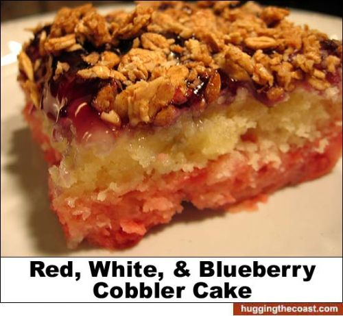 Red, White and Blueberry Cobbler Cake