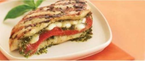 Mozzarella and Pepper Stuffed Pesto Chicken