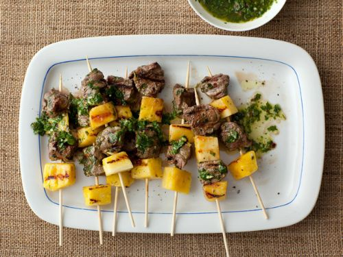 Beef Pops with Pineapple and Parsley Sauce