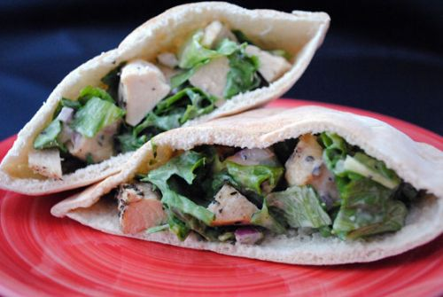 Lemon Basil Chicken Pitas