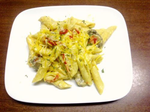 Penne Pasta with Pesto Rosso Cream Sauce Recipe
