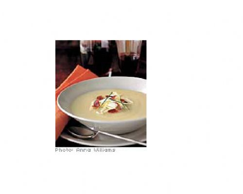 Creamy Potato Soup with Sour cream, bacon and chiv