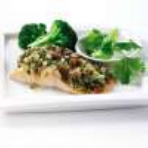 Baked Salmon with Coriander Chutney Tapenade