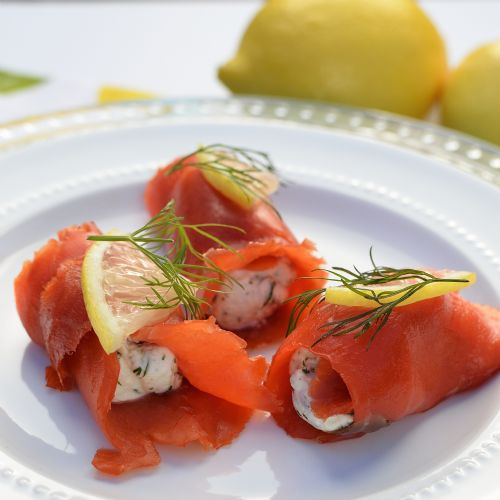 Smoked Salmon Rolls w/Chevre, Lemon & Dill