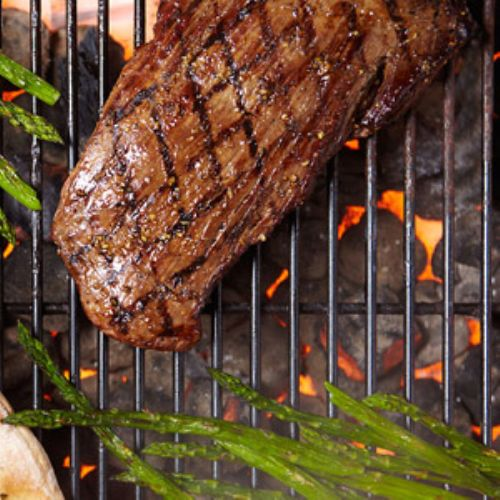 Sesame and Garlic Flank Steak with Grilled Asparag