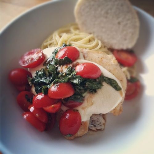wjjjww chicken caprese with lemon olive oil pasta