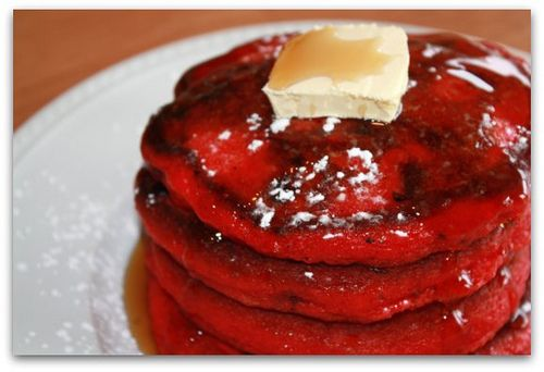 Red Velvet Pancakes with chocolate chips