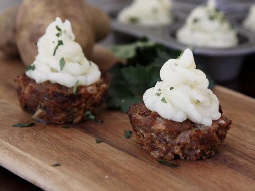 Meat Loaf Cupcakes with Mashed Potato Icing