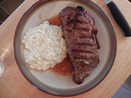 Steak and gooey rice