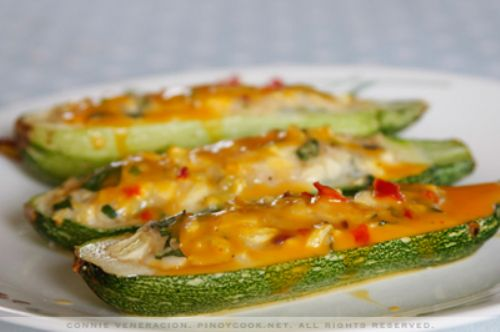 Stuffed Zucchini with Melted Cheese