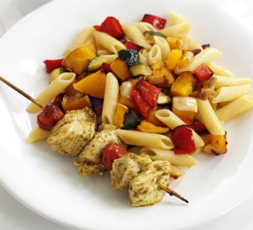 Pesto Chicken Kebabs with Roasted Veg Pasta