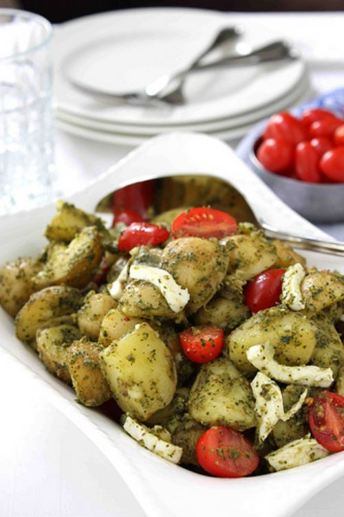 Pesto Potato, Tomato and Fresh Mozzarella Salad