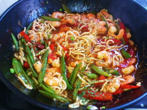 Chilli prawn noodles