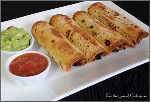 Black bean & beef baked taquitos