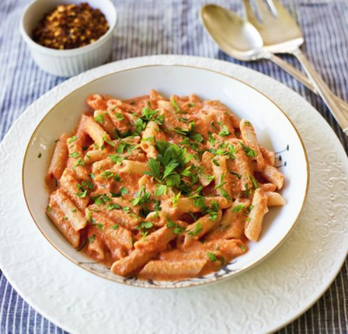 Penne with Creamy Vodka Tomato Sauce