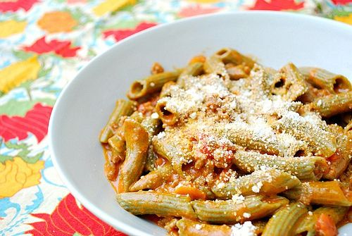 Penne with Meaty Vodka Sauce