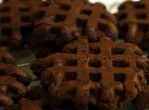 Waffle Iron Triple Chocolate Brownies