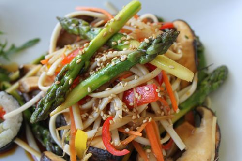 Five Spice Mushrooms & Asparagus with Udon Noodles