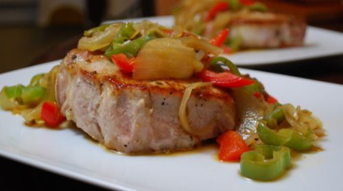 Pork Chops Smothered with Peppers and Onions