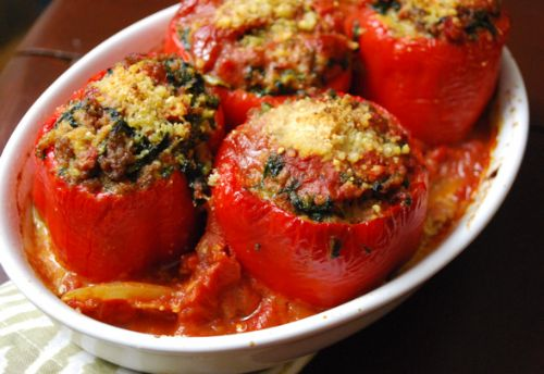 Peppers - Meatball-Stuffed with Spinach and Garlic