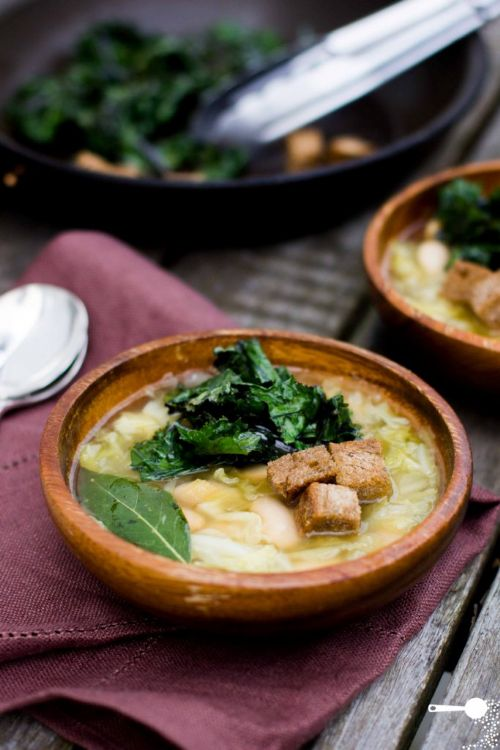 Cabbage, Bean, and Crispy Kale Soup