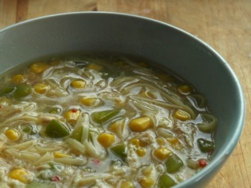 Frugal chicken, sweetcorn and noodle soup