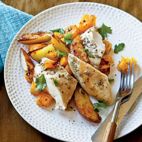 Roast Chicken w/ Potatoes & Butternut Squash