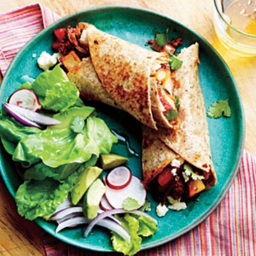 Potato, Chorizo, and Green Chile Burritos
