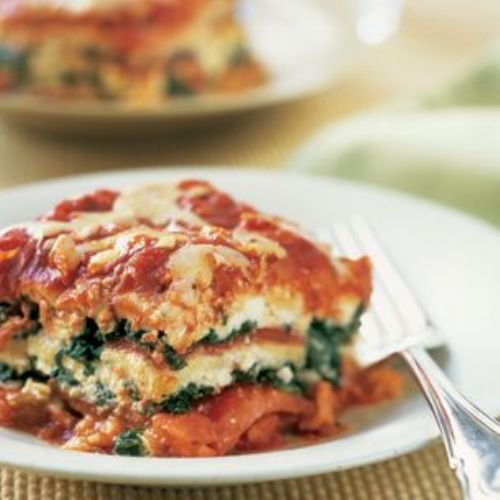 Spinach and Roasted Red Pepper Lasagna Recipe
