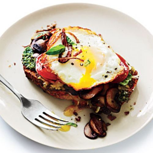 Open-Faced Sandwiches with Mushrooms and Fried Egg