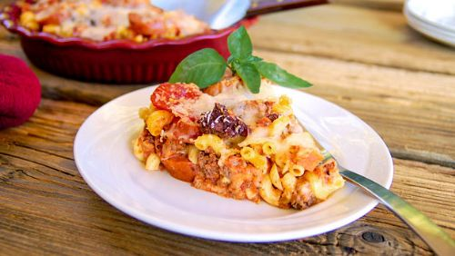 Meat Lover's Pizza Pasta Bake