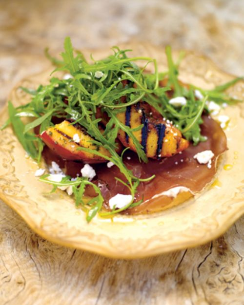 grilled peach salad with bresaola and a creamy dre