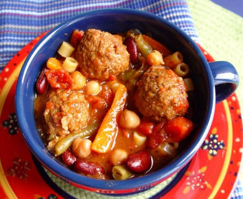 Minestrone Soup [with Turkey Meatballs]