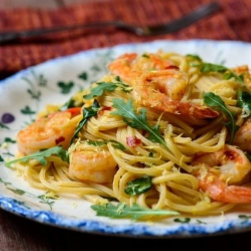 Lemon Shrimp and Arugula Pasta