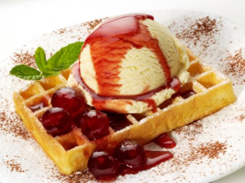 Waffels with Hot Cherry Sauce