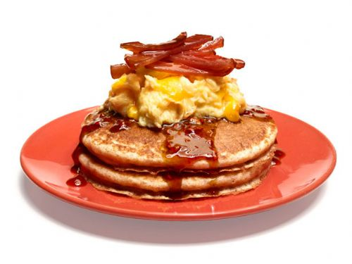 Whole Grain Pancakes with Eggs and Bacon