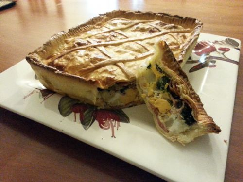Bacon, Egg, Potato and Spinach Pie