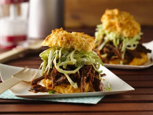 BBQ Beef with Creamy Slaw on Cheese-Garlic Biscuit