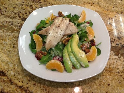 Roasted Tilapia, Clementines, Spinach Salad