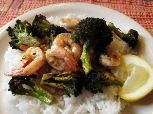 Spicy Roasted Broccoli & Shrimp