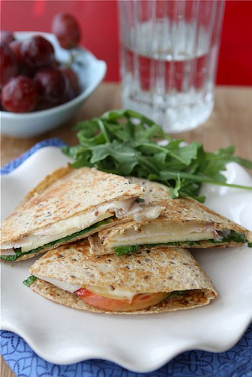 Smoked Turkey, Apple and Cheese Quesadillas