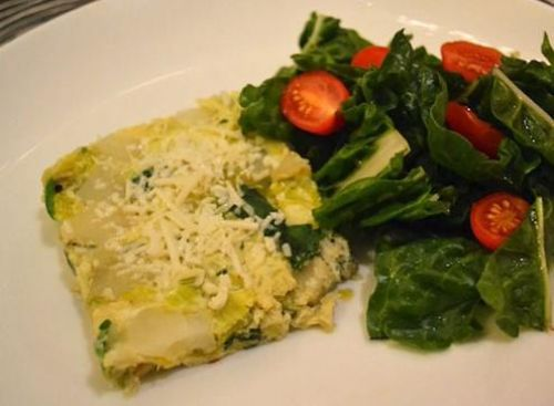 Baked Leek, Potato, and Spinach Frittata