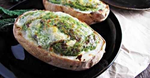 Twice-Baked Broccoli and Kale Stuffed Potatoes