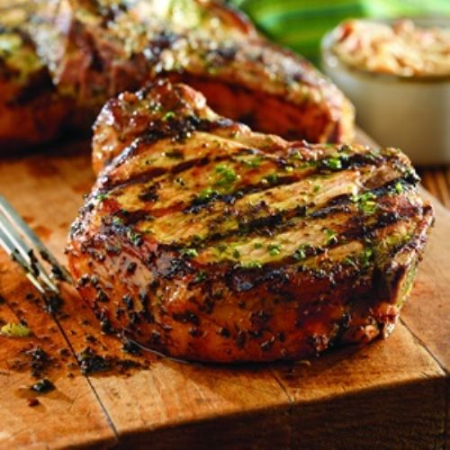 Grilled Pork Chops with Basil-Garlic Rub Recipe