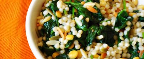 Spinach and Israeli Couscous