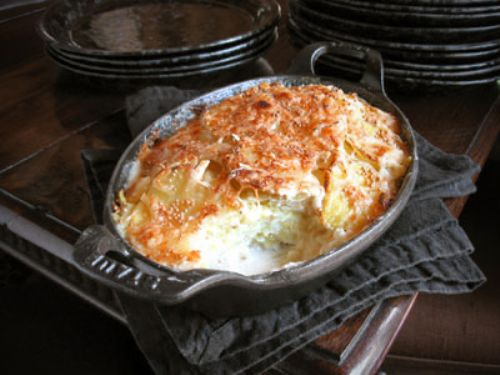 Scalloped Potatoes with Endive & Mustard